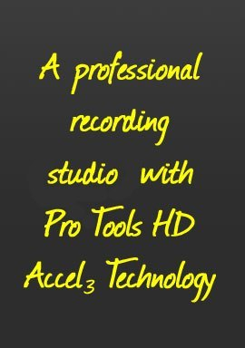 A professional recording studio with Pro Tools HD Ecell3 Technology